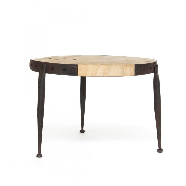 Tisch 'Clint', hellbraun natur, schwarz, Ø ~52 cm, H 35 cm