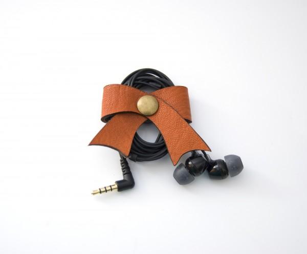 Leder-Kabelschleife, orange, T 5 cm, B 5 cm