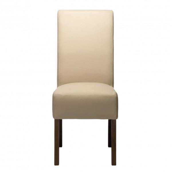 altweißer Lederstuhl, L 59 cm, B 43 cm, H 102 cm