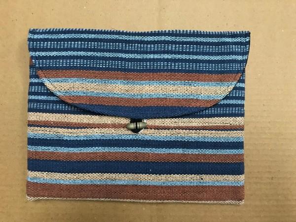 Tablet-Tasche, braun, blau, natur, T 28 cm, B 21 cm