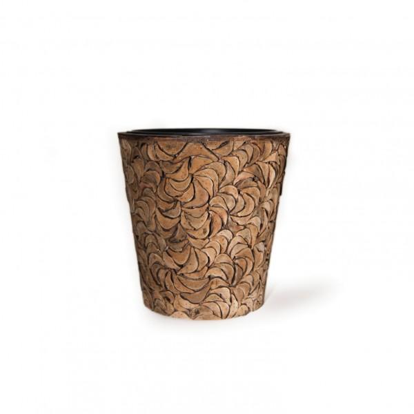 """Übertopf """"Bourges"""" aus Kokosholz mit Kunststoffeinsatz, H 25 cm, Ø 25 cm"""