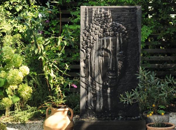 Brunnen 'Buddha' inkl. Pumpe, grau, T 38 cm, B 73 cm, H 142 cm