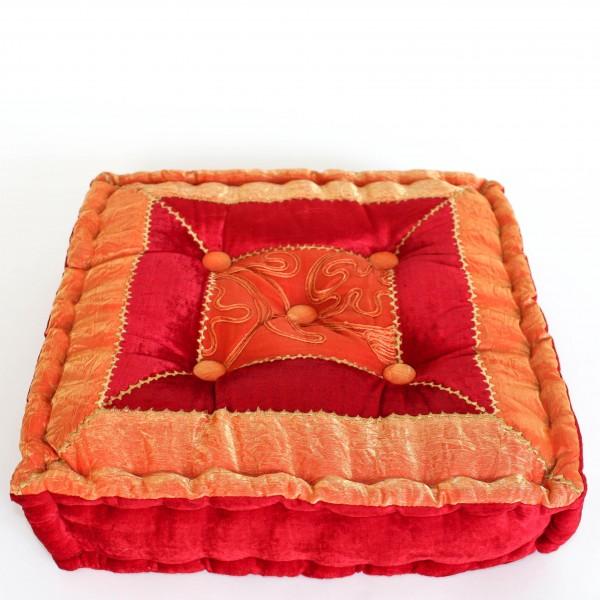 Kissen quadratisch, rot/orange, L 40 cm, B 40 cm, H 10 cm