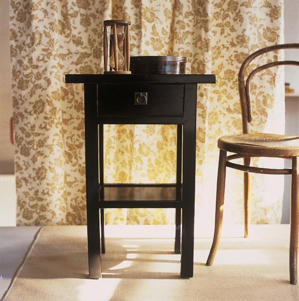 Beistelltisch mit Schublade, schwarz, H 70 cm, B 50 cm, T 29 cm