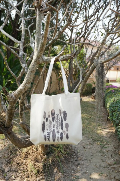 Stoffbeutel 'Federn', schwarz, weiß, L 40 cm, B 9 cm, H 40 cm