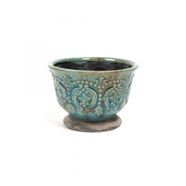 "Pflanztopf ""Drancy"" aus Keramik klein, türkis, H 13 cm, Ø 18,5 cm"