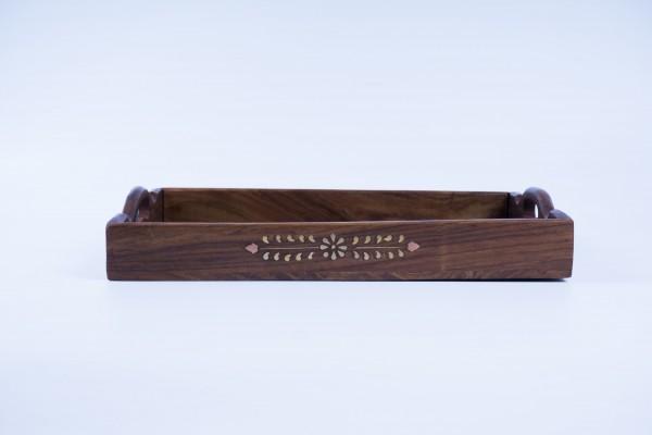 Holztablett S, braun, T 30 cm, B 20 cm, H 3,5 cm