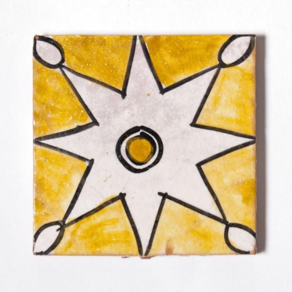 """Fliese """"étoile"""", gelb/rosa, L 10 cm, B 10 cm, H 1cm"""