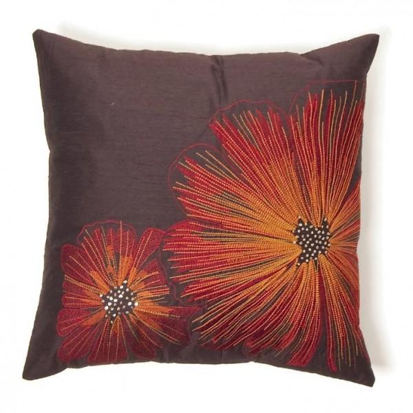 """Kissenhülle """"Blumen"""", rot/braun, L 46 cm, B 46 cm"""