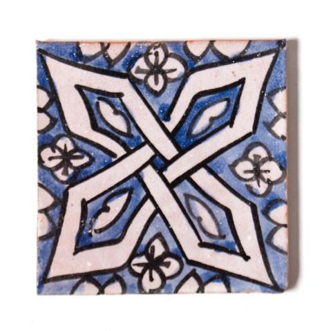 "Fliese ""celtique bleu"", blau/weiß, L 10 cm, B 10 cm, H 1 cm"
