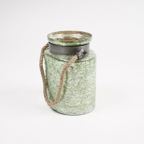 Glasbehälter mit Metallschelle, Ø 20 cm, H 24 cm
