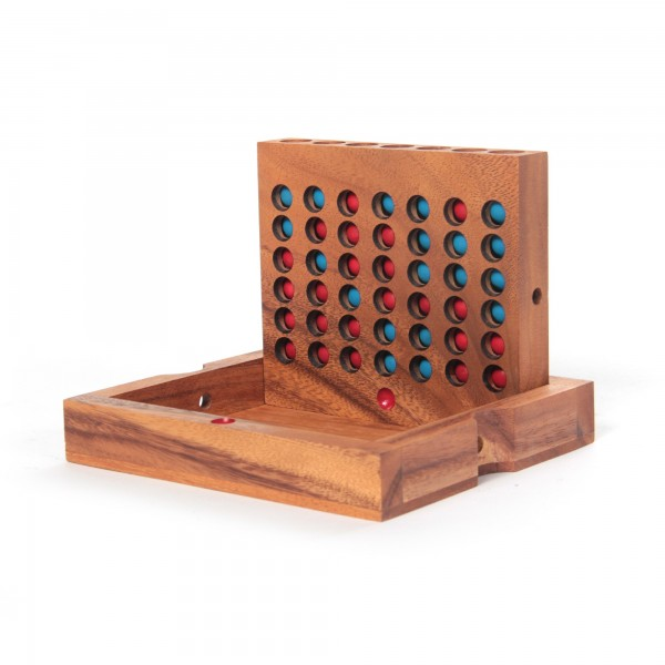 """Spiel """"Vier in einer Reihe"""", rot/blau, aus Akazienholz"""