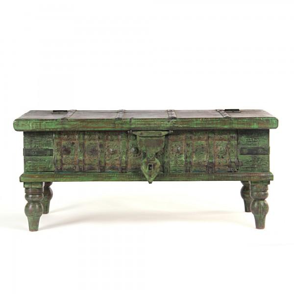 alte Truhe aus recyceltem Holz, grün, L 38 cm, B 87 cm, H 38 cm