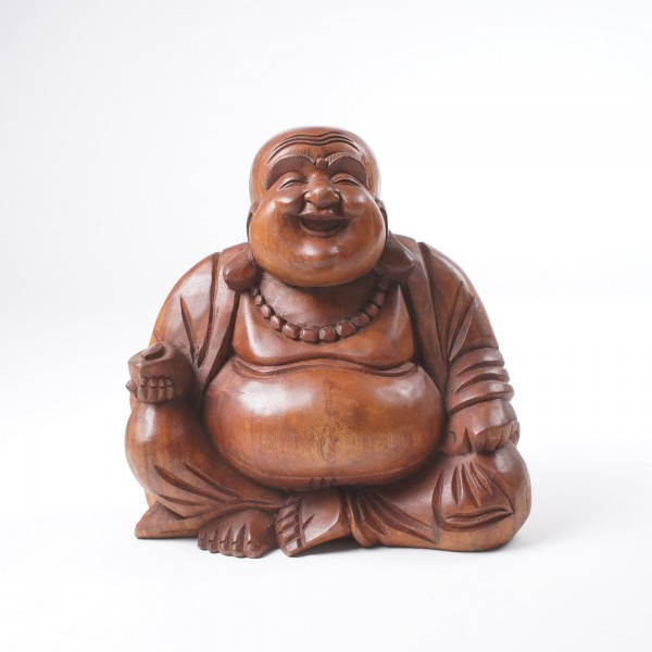 Sitzender Buddha, aus Holz, braun, B 29 cm, H 30 cm