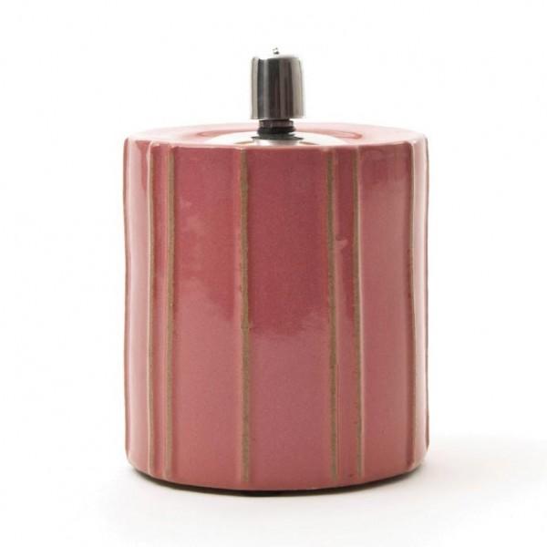Keramikfackel mit Edelstahlaufsatz, pink, H 16,5 cm, Ø 11,5 cm