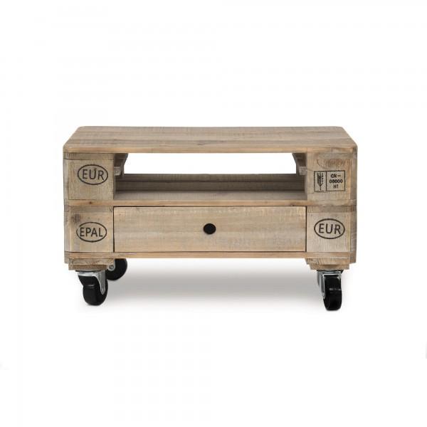 Beistelltisch 'Palet' mit Rollen, 1 Schublade, natur, T 39 cm, B 58 cm, H 33 cm