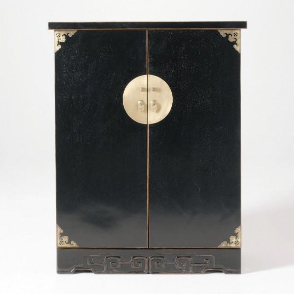 CD-Bar, schwarz, H 110 cm, B 85 cm, T 36 cm