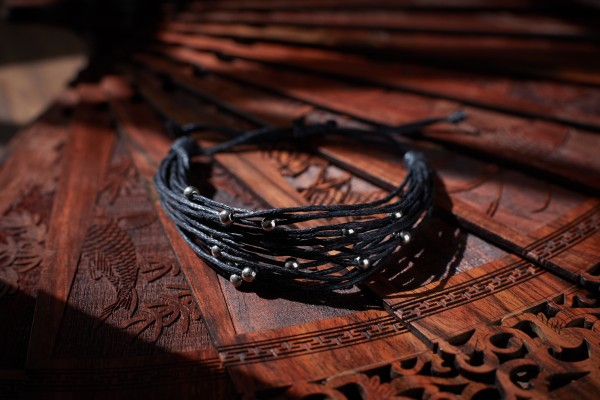 Armband 'Silver Ball' , schwarz