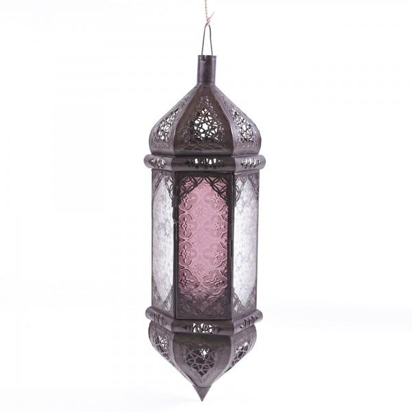 Laterne 'Riad el Moukha', klar/rot, H 50 cm, Ø 15 cm
