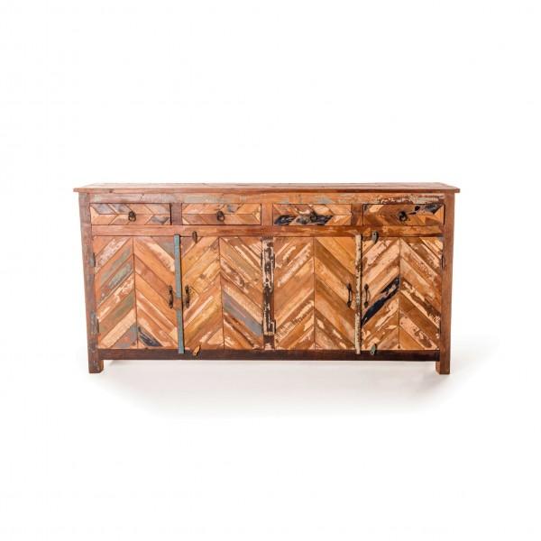 "Sideboard ""Dice"", aus recyceltem Holz, L 40 cm, B 180 cm, H 90 cm"