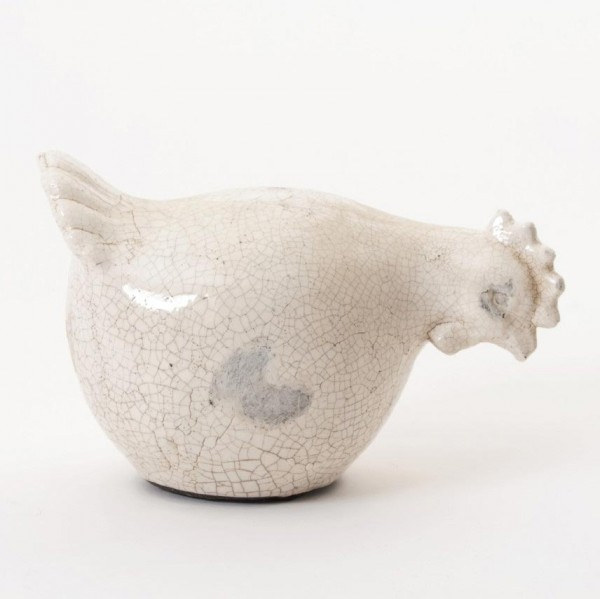 Huhn groß, weiß, L 32 cm, B 19,5 cm, H 20 cm