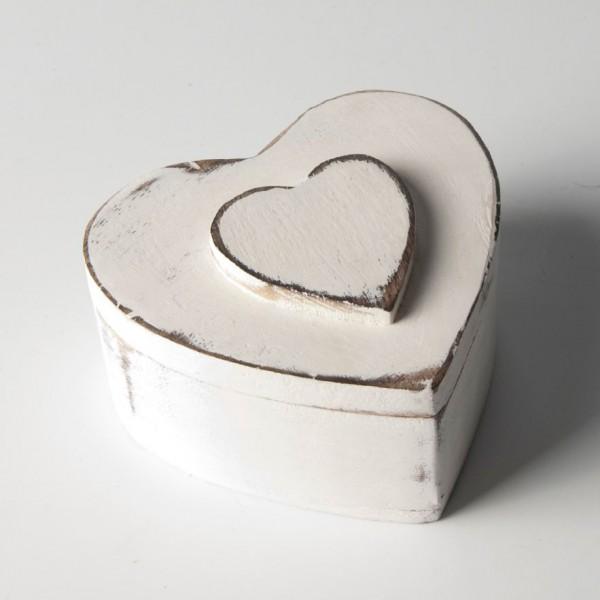 """Herzdose """"Ringelai"""" aus Holz, weiß, L 10 cm, B 10 cm, H 5 cm"""