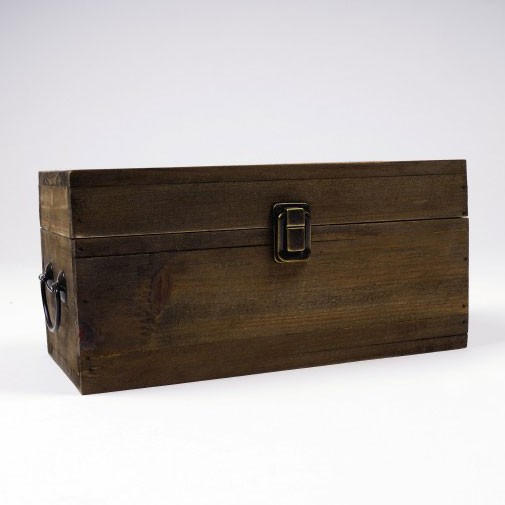 Holztruhe, braun, L 13 cm, B 26,5 cm, H 13 cm