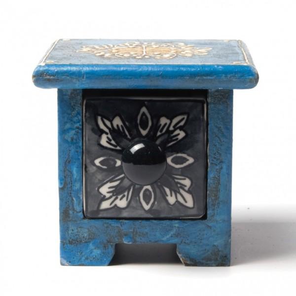 Schmucktruhe mit Schublade, blau/schwarz, L 10 cm, B 10 cm, H 9 cm