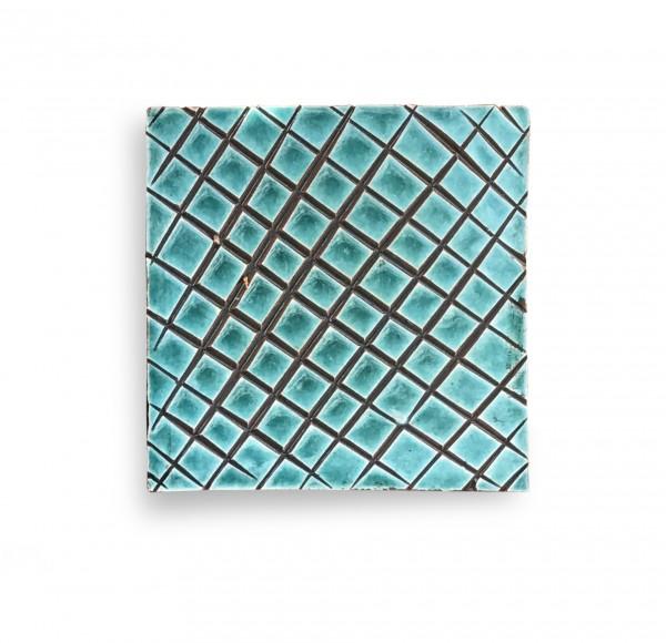 Kachel 'réseau turquoise', türkis, braun, T 10 cm, B 10 cm, H 1 cm