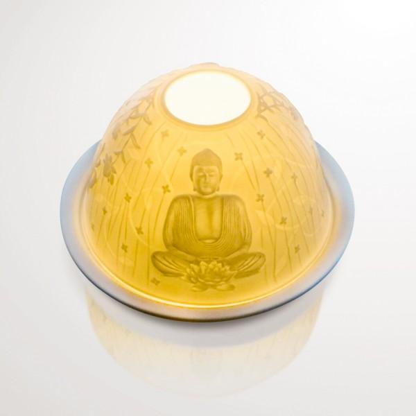 """Windlicht """"Buddha"""" aus Porzellan, Ø 12 cm, H 7,5 cm"""