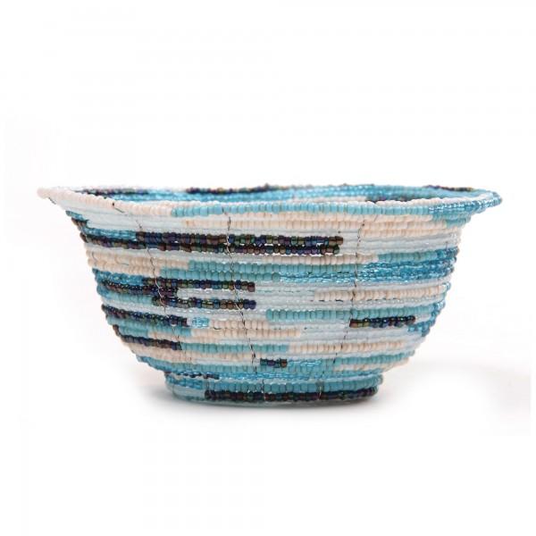 Glasperlenschale, türkis, Ø 13 cm, H 6 cm