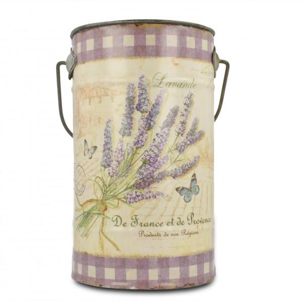 "Zinkeimer ""Lavendel"", lavendel/beige, H 27 cm, Ø 19 cm"
