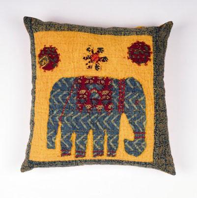 "Kissenhülle ""Elephant"", gelb/rot, L 40 cm, B 40 cm"