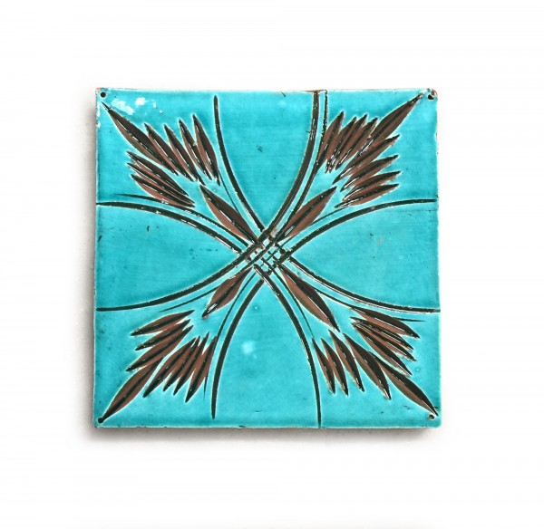 Kachel 'croix turquoise', türkis, braun, T 10 cm, B 10 cm, H 1 cm