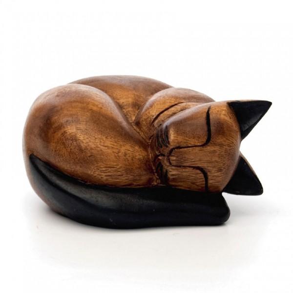 Schlummerkatze, braun, L 26 cm, B 30 cm, H 15 cm