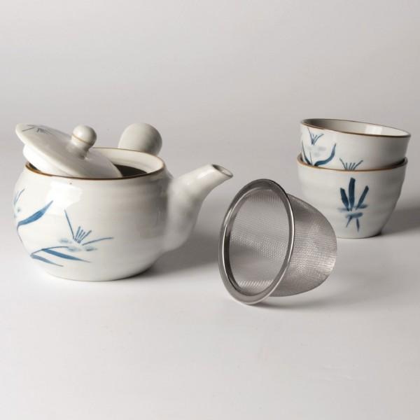 "Teeservice ""Sumi"", 2 Tassen & Teekanne, weiß/blau"