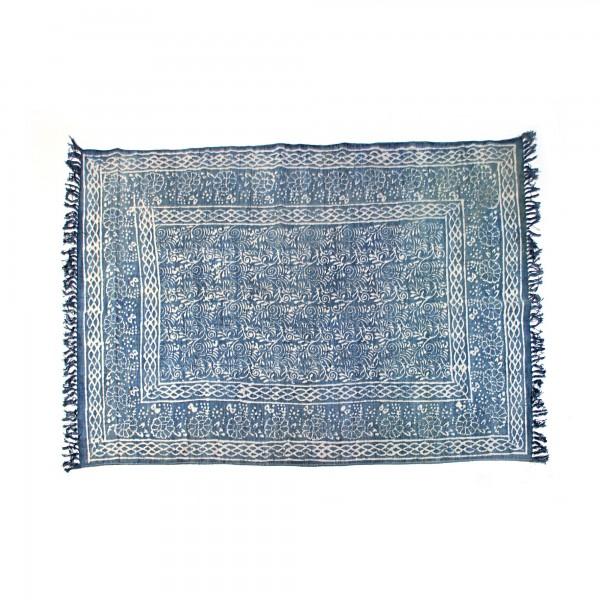 Teppich 'Blumen', blau, T 140 cm, B 200 cm