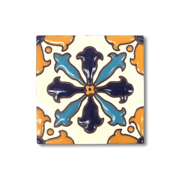 Reliefkachel 'Toluca', weiß, blau, schwarz, orange, T 10 cm, B 10 cm, H 0,5 cm