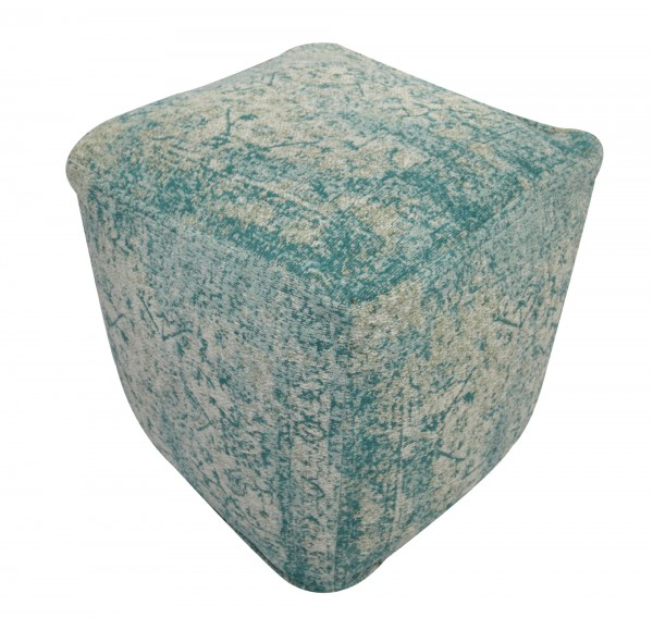 Pouf 'Lali', cremeweiß, türkis, T 45 cm, B 45 cm, H 45 cm