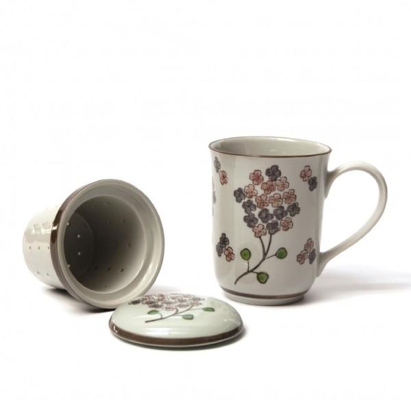 "Tee Tasse ""Blossom"" mit Teesieb, weiß/braun, H 13,5 cm, Ø 8,5 cm"