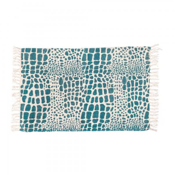 Mini-Rug 'Lonar', weiß, blau, T 60 cm, B 90 cm