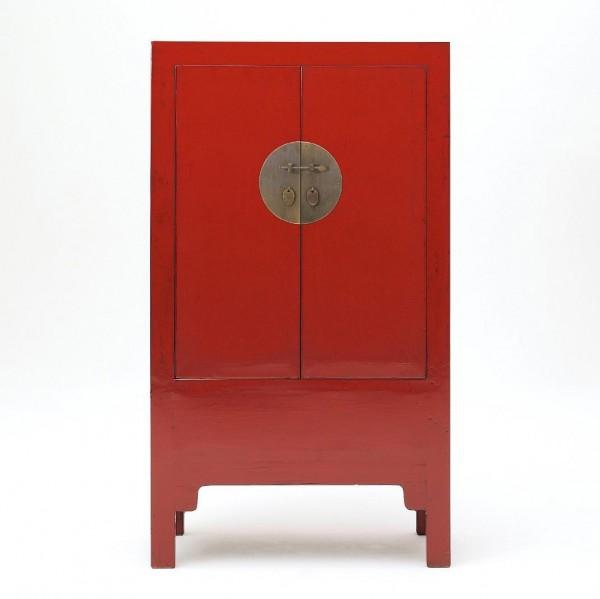 Schrank mit 2 Türen, rot, H 140 cm, B 80 cm, T 40 cm