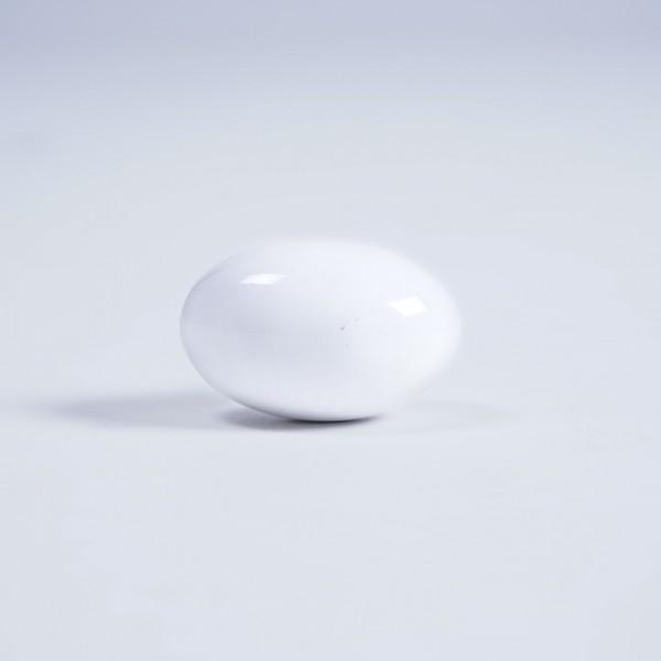 Keramik Möbelknopf oval, handglasiert, weiß, Ø 3,5 cm x 2,5 cm