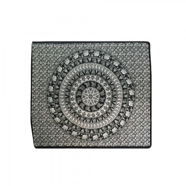 "Tagesdecke ""Meditation"", aus 100% Baumwolle, schwarz/weiß, L 210 cm, B 245 cm"