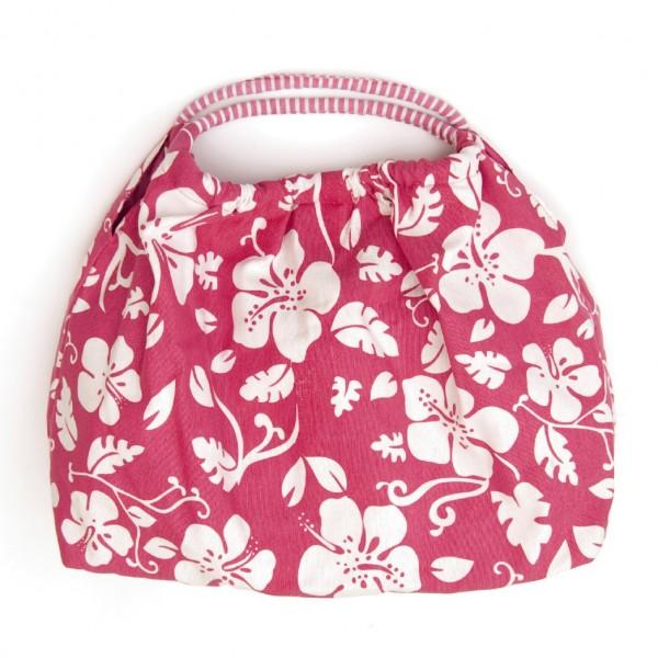 "Shopper ""Hibiskus"", pink/weiß, B 47 cm, H 30 cm"