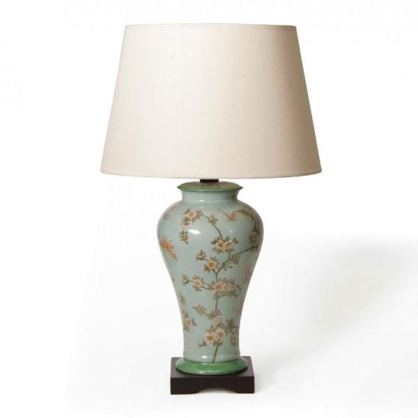 """Keramikleuchte """"Puyang"""", hellblau, Schirm weiß, H 71 cm"""