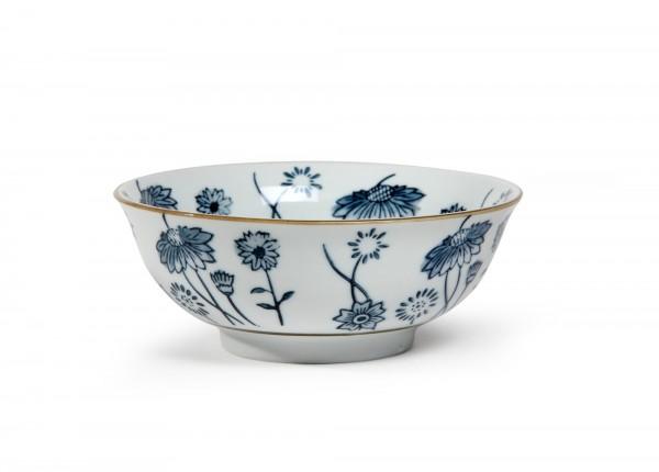 Suppenschale 'Blumenmuster', blau, H 6,5 cm, Ø 15,5 cm