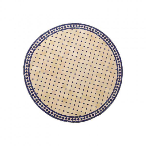runder Tische, beige/blau, H 75 cm, Ø 80 cm