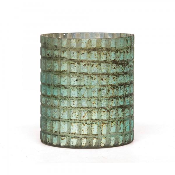 Windlicht 'Toresse', kupfergrün, T 10 cm, B 10 cm, H 12 cm