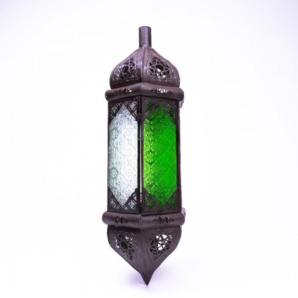 Laterne 'Riad el Moukha', grün/klar, H 50 cm, Ø 15 cm